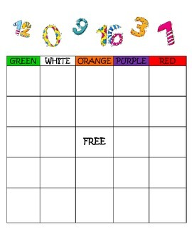 Colors and Numbers Bingo Game