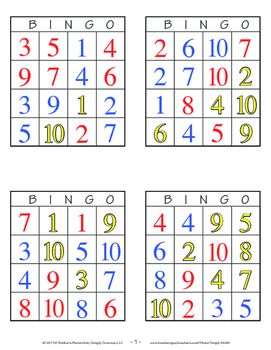 Colors and Numbers Bingo Games