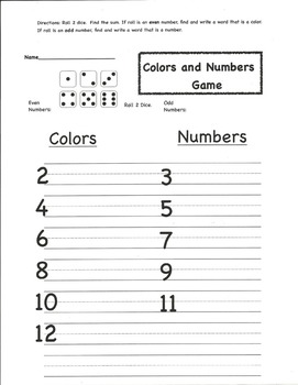 Colors and Numbers Game
