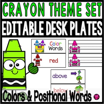 EDITABLE Crayon Theme Desk Plates and Bulletin Board Display