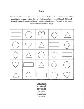 Colors and Shapes Bingo Game French Spanish Exploratory or level 1 Elementary