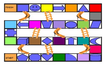 Colors and Shapes Legal Size Photo Chutes and Ladders Game