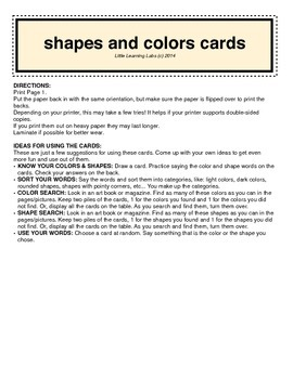 Colors and Shapes Mini Card Set in color prek kindergarten primary learning game