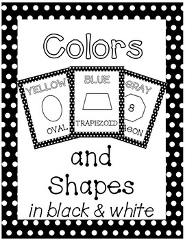 Colors and Shapes Posters - B&W with Polka Dot Border