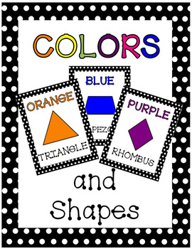Colors and Shapes Posters - COLOR with Polka Dot Border