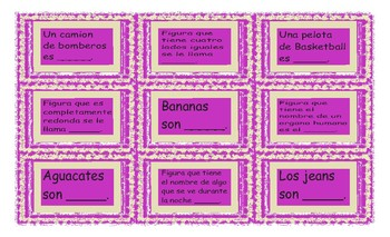 Colors and Shapes Spanish Card Game
