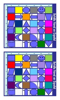 Colors and Shapes Spanish Legal Size Photo Battleship Game