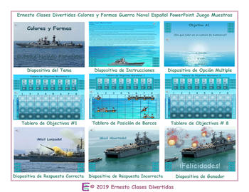 Colors and Shapes Spanish PowerPoint Battleship Game-An Original by Ernesto