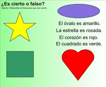 Colors and Shapes Spanish SMART Board lesson