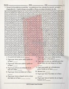Colors and Shapes Spanish Word Search Worksheet