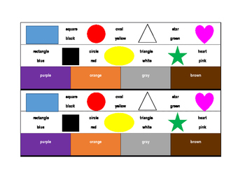 Colors and Shapes in English Desk strips