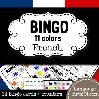 Colors bingo French | Bingo 'Les Couleurs Français'