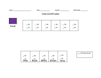 Colors chart and assessment