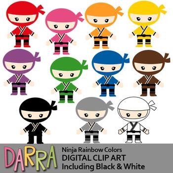 Colors clip art / Ninja rainbow colors clipart