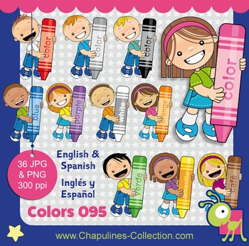 Colors clipart, crayons, english and spanish, crayons & kids set 095