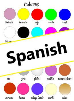 Colors flash card: Colores en Español (Spanish)