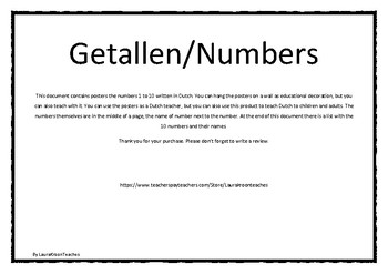 Numbers 1-10 in Dutch - A4 size posters