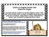 Colors in English Poster Set  (Chevron Style)