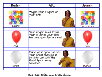 Colors – in English, Spanish, & ASL - FREEBIE