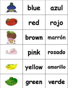 Colors in English and Spanish