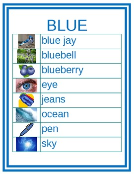 Colors in English Word Wall