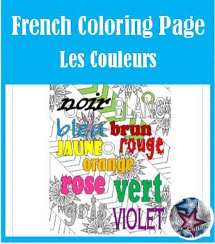 Colors in French Adult Coloring Page - Beginning of the year Activity