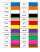 Couleurs (Colors in French) Dominoes