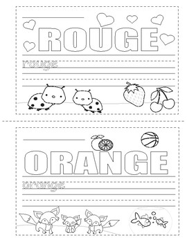 Colors in French ~ Les Couleurs ~ Mini Booklet Coloring