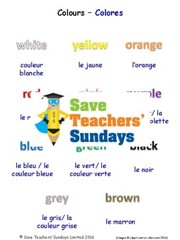 Colors in French Worksheets, Games, Activities and Flash Cards