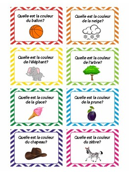 Colors in French, task cards, quiz quiz trade, speaking practice in French