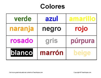 Colors in Spanish.  Colores
