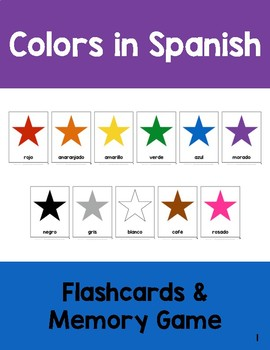 Colors in Spanish: Flashcards and Memory Game Cards