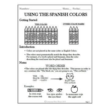 Colors in Spanish (Gender and Number Agreement)