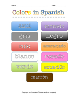 Colors in Spanish Handout/Poster and Quizzes