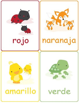 Colors in Spanish ~ Los Colores ~ Flash Cards ~ Match Up Game