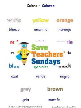 Colors in Spanish Worksheets, Games, Activities and Flash Cards