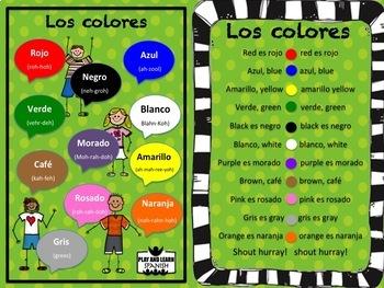 Colors in Spanish/ los colores - Cartilla / Bilingual
