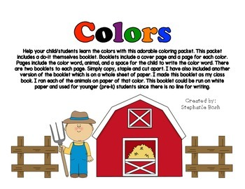 Colors - learn the colors using this adorable farm booklet - 2 versions