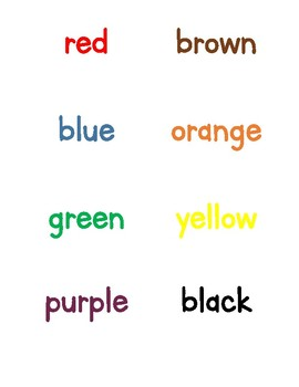 Colors learning packet