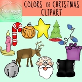 Colors of Christmas Clipart Set - Color and Line Art 22 pc set