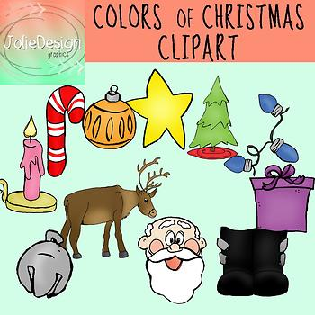 Colors of Christmas Clipart Set - Color and Line Art 22 pc set