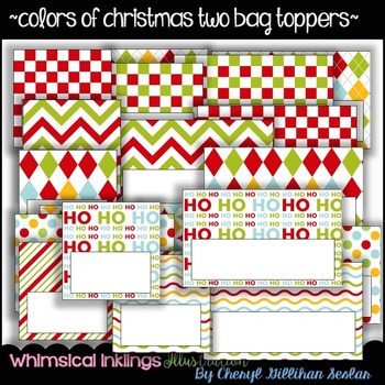 Colors of Christmas TWO- Bag Toppers~ COMMERCIAL USE~