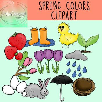 Colors of Spring Clipart Set - Color and Line Art 22 pc set