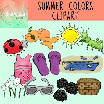 Colors of Summer Clipart Set - Color and Line Art 22 pc set