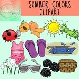 Colors of Summer Clipart Set - Color and Line Art 22 pc set