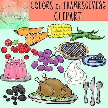 Colors of Thanksgiving Clipart Set - Color and Line Art 22 pc set