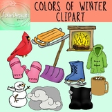 Colors of Winter Clipart Set - Color and Line Art 22 pc set