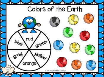 Colors of the Earth:  NO PREP Earth Day Themed Spin and Cover Color Word Game