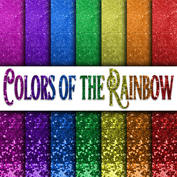 Colors of the Rainbow Glitter Digital Paper Pack - 14 Different Papers - 12x12in