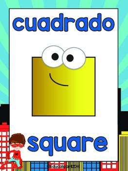 Colors & shapes Bilingual (English/Spanish) - Superhero theme